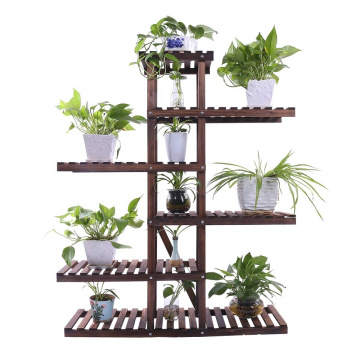 Carbonized Wood Plant Stand Holder 6 Tier High Low Shelf Space Saving Flower Display Rack For Indoor Outdoor Garden Patio Balcon